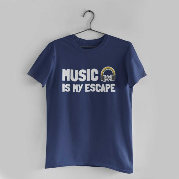 Music Is My Escape Navy Blue Round Neck T-Shirt
