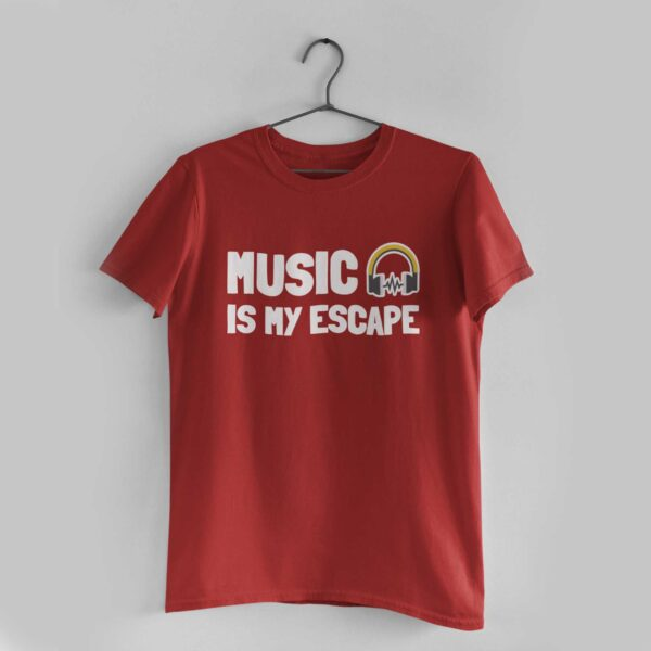 Music Is My Escape Red Round Neck T-Shirt
