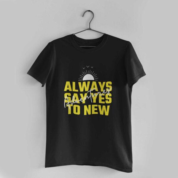 Adventures Black Round Neck T-Shirt