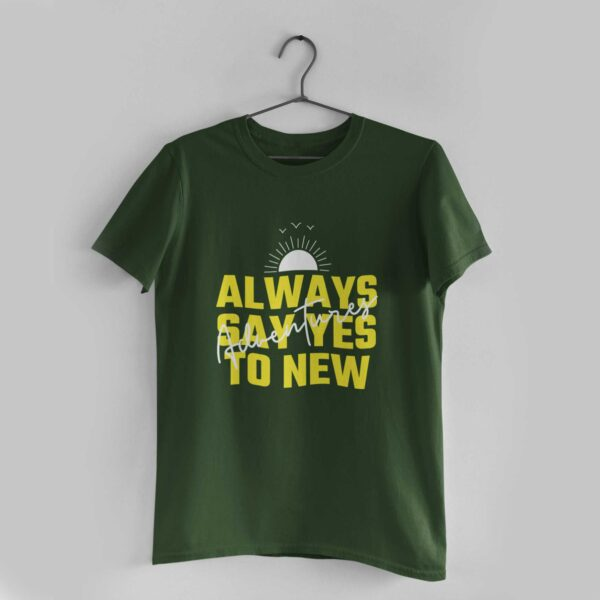 Adventures Olive Green Round Neck T-Shirt