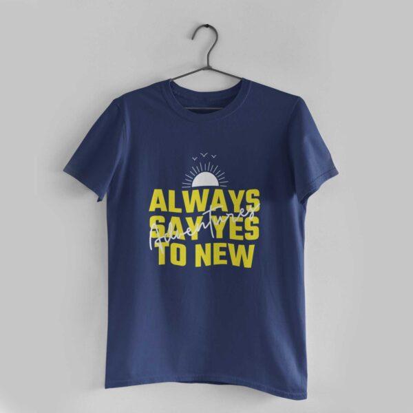 Adventures Navy Blue Round Neck T-Shirt