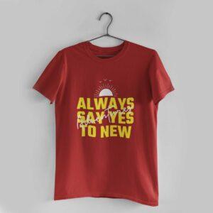 Adventures Red Round Neck T-Shirt