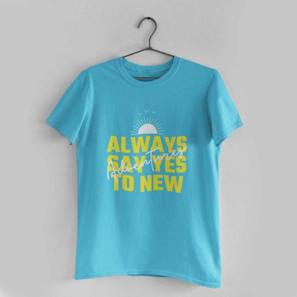 Adventures Sky Blue Round Neck T-Shirt