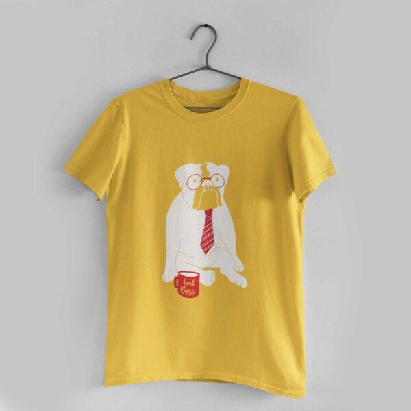 Best Boss Golden Yellow Round Neck T-Shirt
