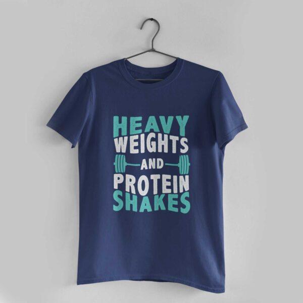 Heavy Weights Navy Blue Round Neck T-Shirt