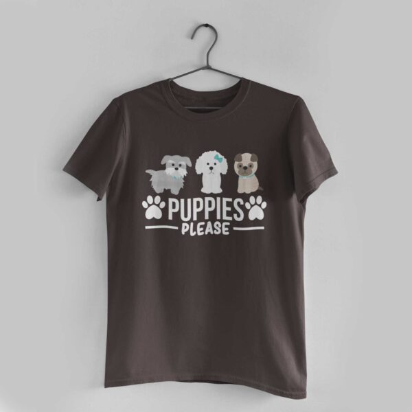 Puppies Please Charcoal Grey Round Neck T-Shirt