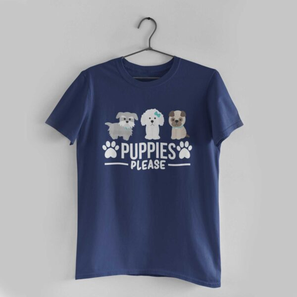 Puppies Please Navy Blue Round Neck T-Shirt