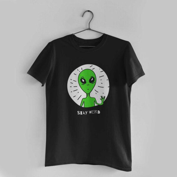 Stay Weird Black Round Neck T-Shirt