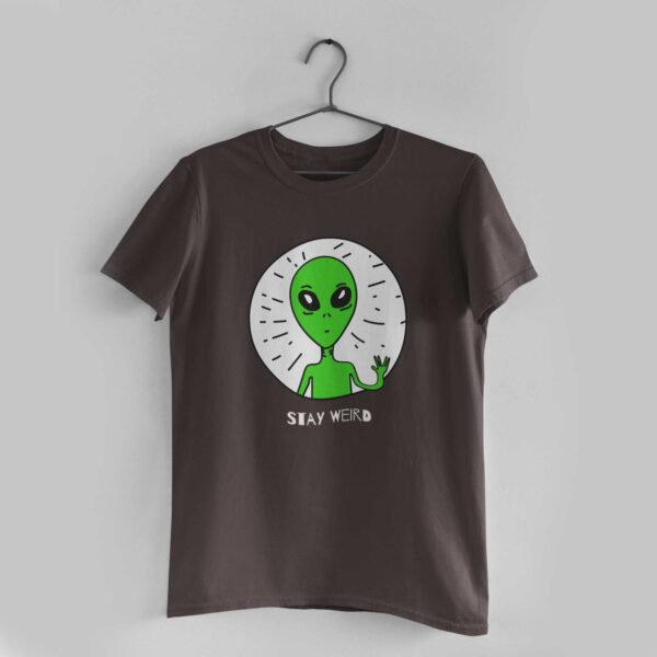 Stay Weird Charcoal Grey Round Neck T-Shirt