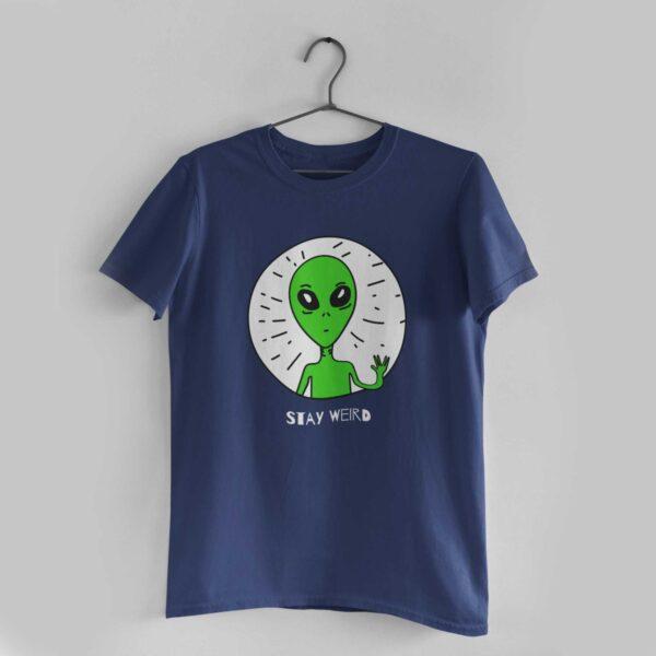 Stay Weird Navy Blue Round Neck T-Shirt
