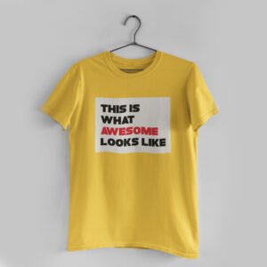 Awesome Golden Yellow Round Neck T-Shirt