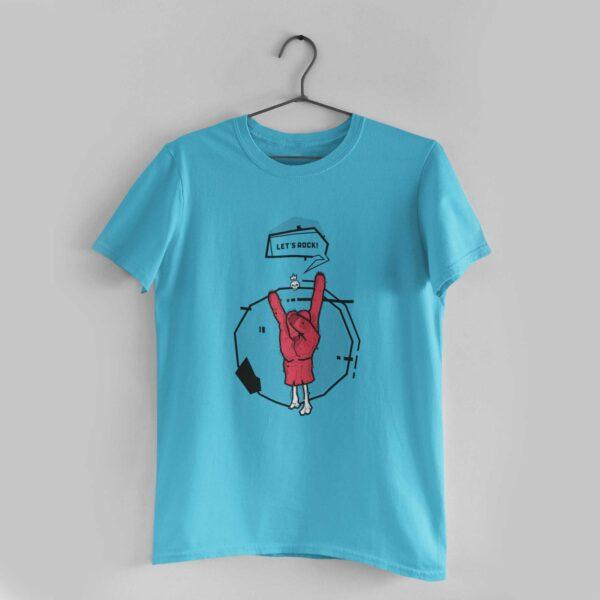 Let's Rock Sky Blue Round Neck T-Shirt