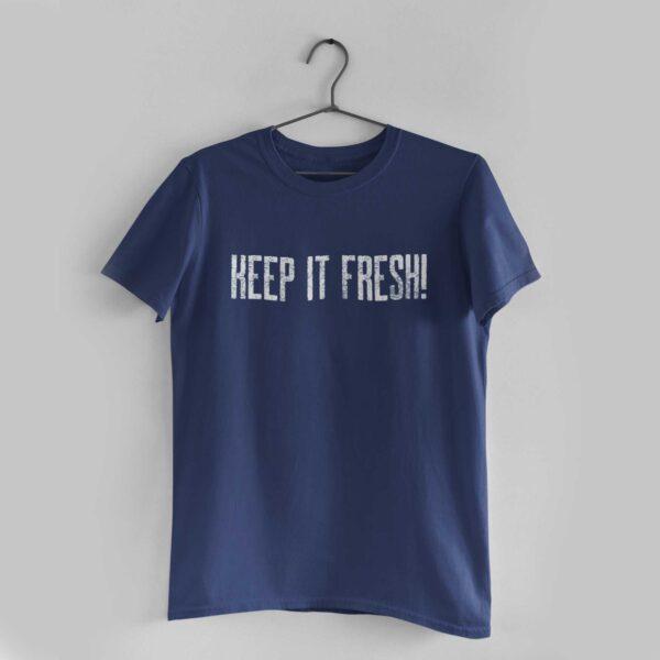 Keep It Fresh Navy Blue Round Neck T-Shirt