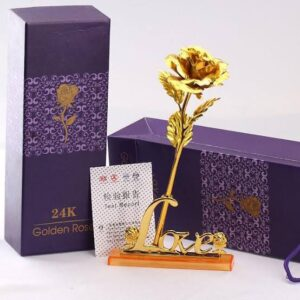 24K Golden Rose With Stand