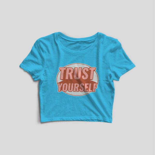 Trust Yourself Sky Blue Crop Top