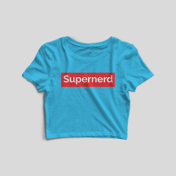 Supernerd Sky Blue Crop Top