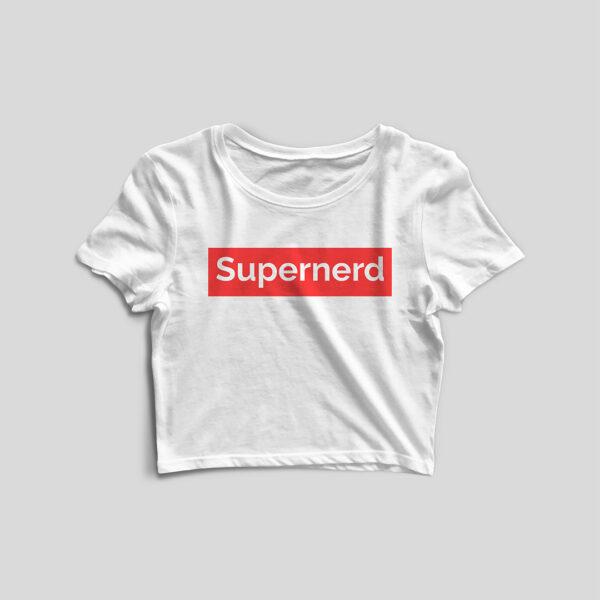 Supernerd White Crop Top