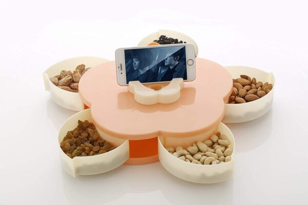 Five Compartments Flower Candy Box Serving Rotating Tray Dry Fruit, Candy, Chocolate, Snacks Storage Box