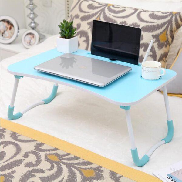 Portable Folding Bed Laptop Table (Blue)