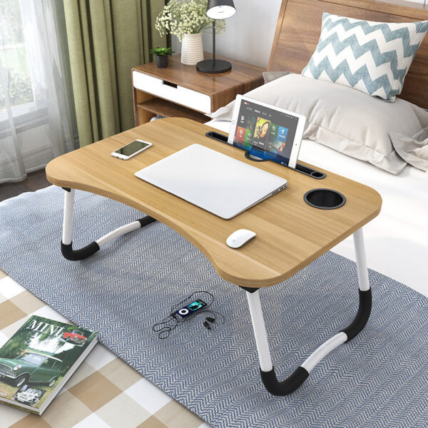 Portable Folding Bed Laptop Table (Light Brown)