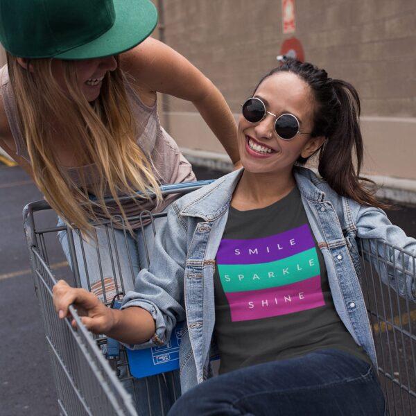 Smile Sparkle Shine Round Neck T-Shirt