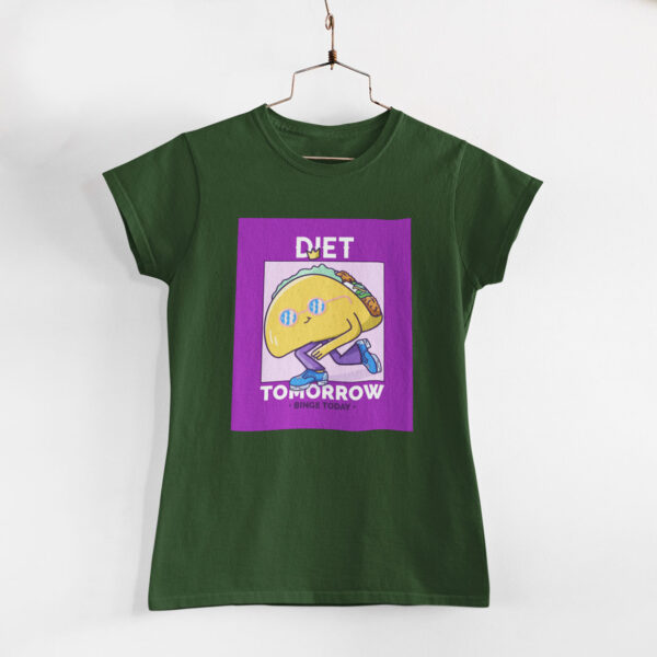 Binge Today Women Olive Green Round Neck T-Shirt