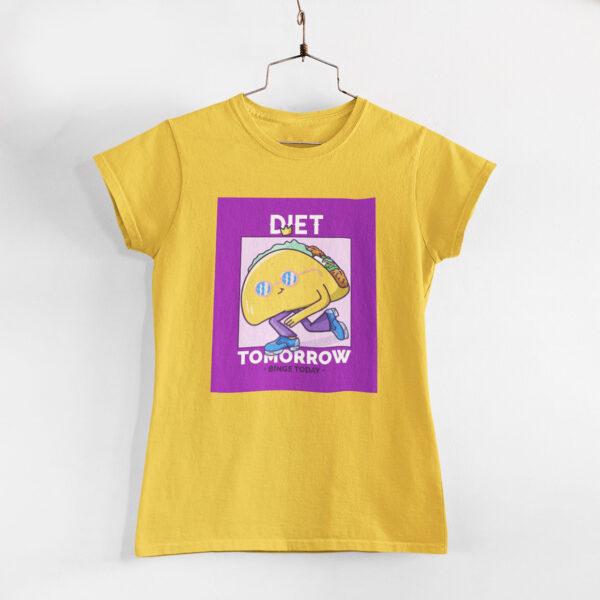Binge Today Women Golden Yellow Round Neck T-Shirt