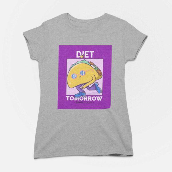 Binge Today Women Melange Grey Round Neck T-Shirt