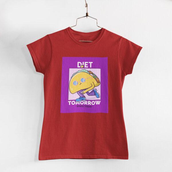 Binge Today Women Red Round Neck T-Shirt