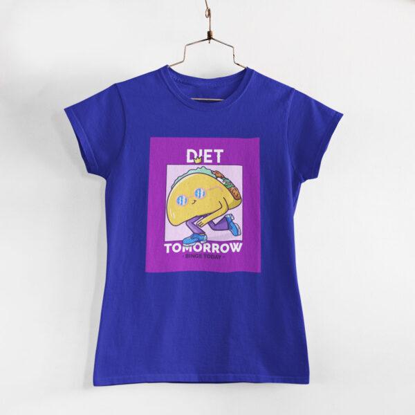 Binge Today Women Royal Blue Round Neck T-Shirt