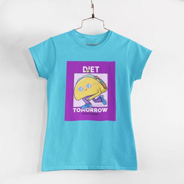 Binge Today Women Sky Blue Round Neck T-Shirt