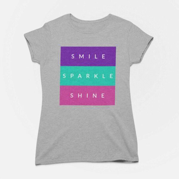 Smile Sparkle Shine Melange Grey Round Neck T-Shirt