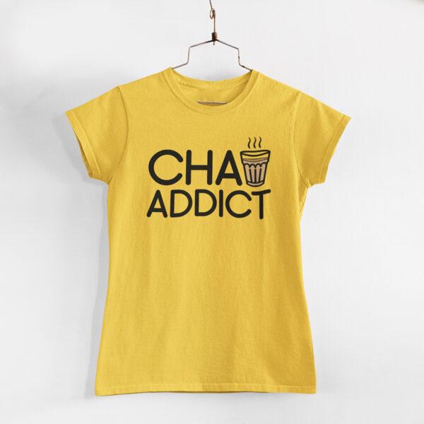 Chai Addict Women Golden Yellow Round Neck T-Shirt