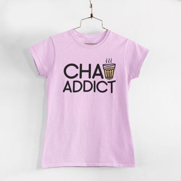Chai Addict Women Light Pink Round Neck T-Shirt