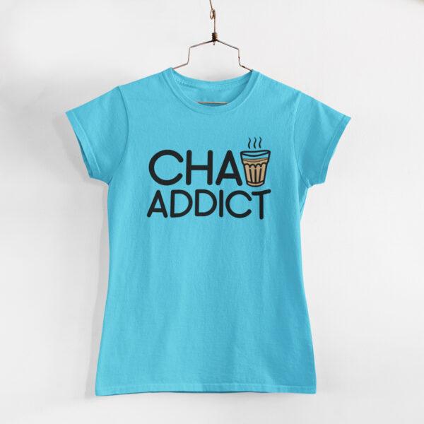 Chai Addict Women Sky Blue Round Neck T-Shirt