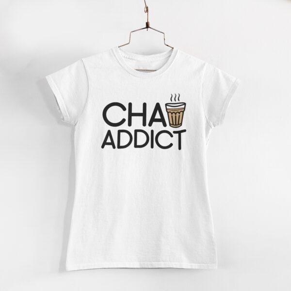Chai Addict Women White Round Neck T-Shirt