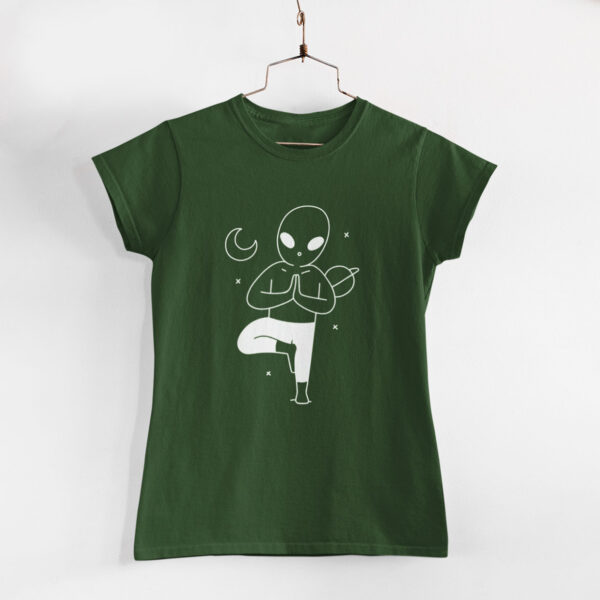 Yoga In Space Women Olive Green Round Neck T-Shirt
