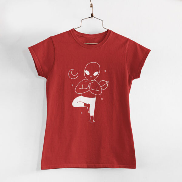 Yoga In Space Women Red Round Neck T-Shirt