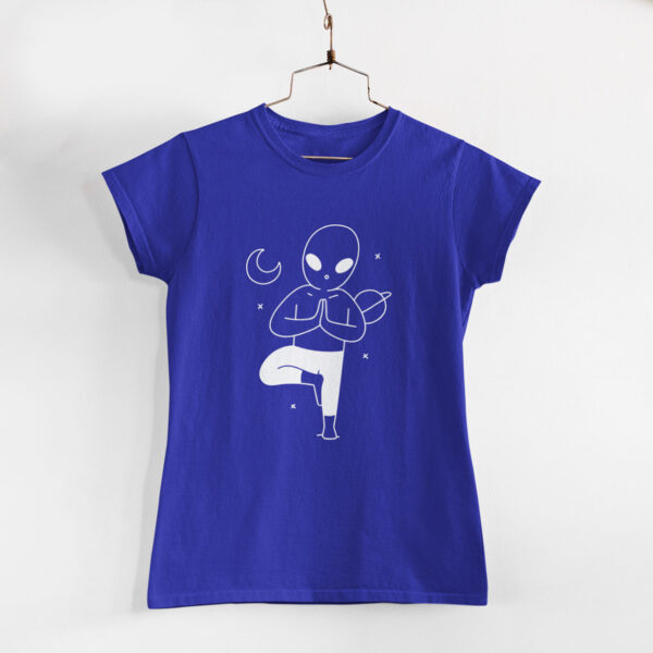 Yoga In Space Women Royal Blue Round Neck T-Shirt