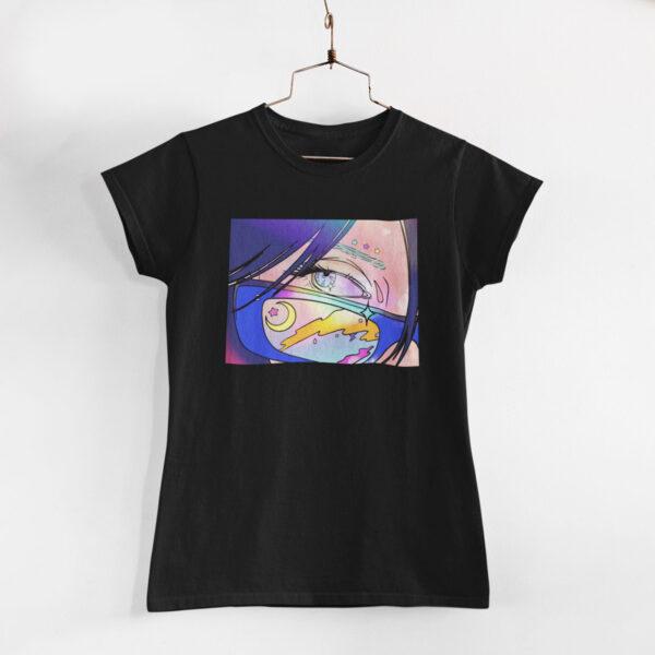 Neon Anime Girl Black Round Neck T-Shirt