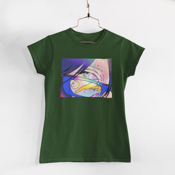 Neon Anime Girl Olive Green Round Neck T-Shirt