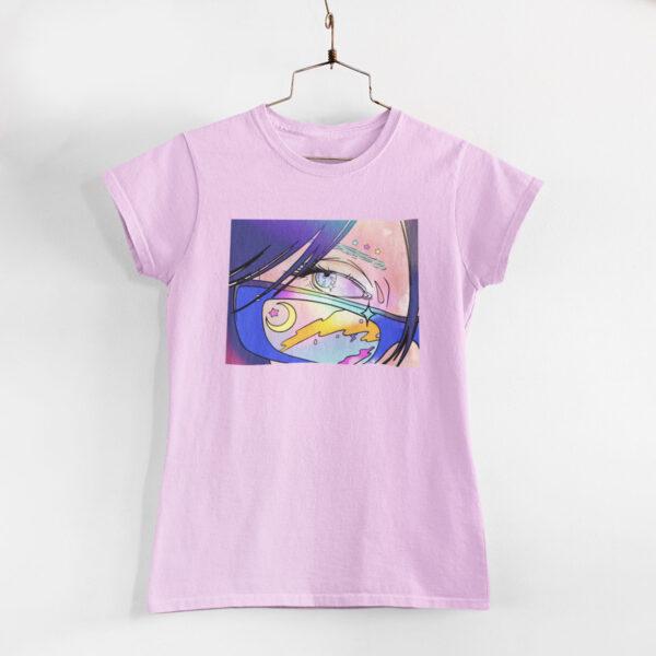 Neon Anime Girl Light Pink Round Neck T-Shirt