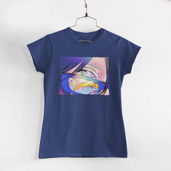 Neon Anime Girl Navy Blue Round Neck T-Shirt
