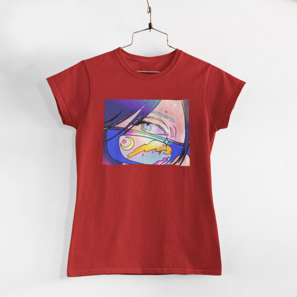 Neon Anime Girl Red Round Neck T-Shirt