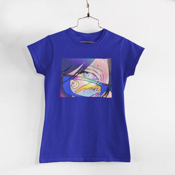Neon Anime Girl Royal Blue Round Neck T-Shirt