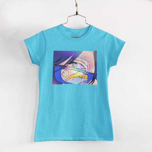 Neon Anime Girl Sky Blue Round Neck T-Shirt