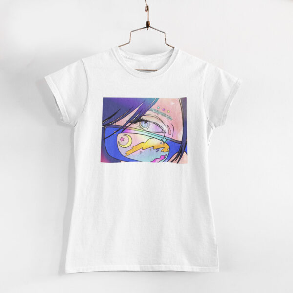 Neon Anime Girl White Round Neck T-Shirt