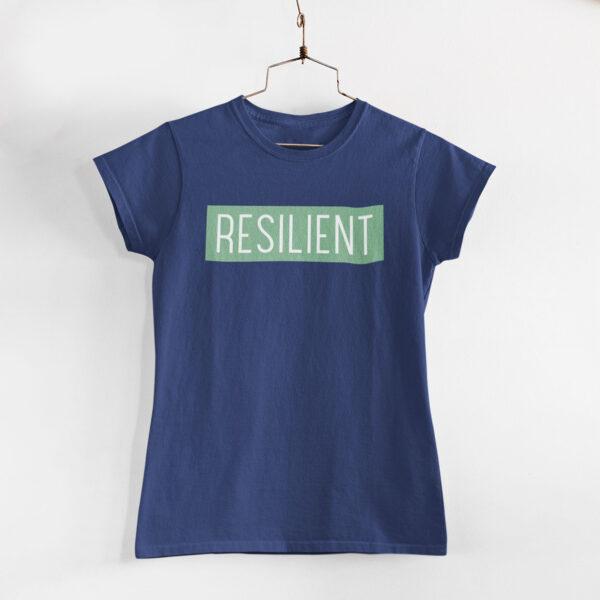Resilient Women Navy Blue Round Neck T-Shirt