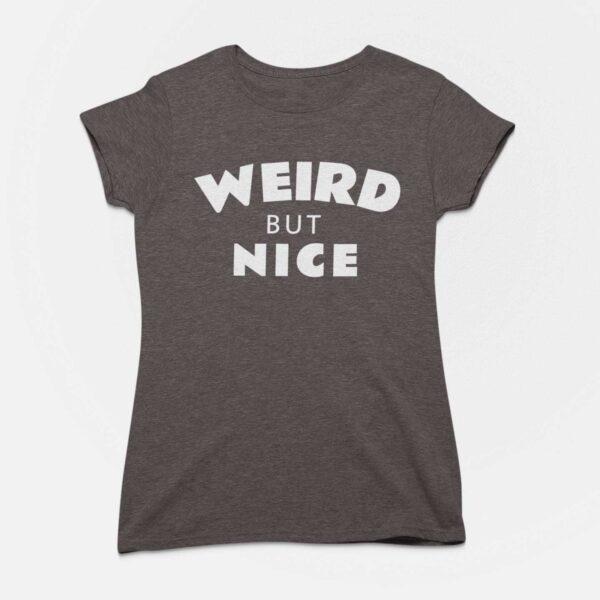 Weird But Nice Women Charcoal Grey Round Neck T-Shirt