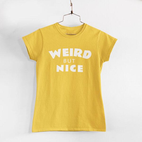 Weird But Nice Women Golden Yellow Round Neck T-Shirt